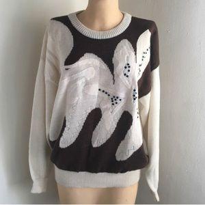 Unisex Cream Brown Leaf Flower Patterned Sweater